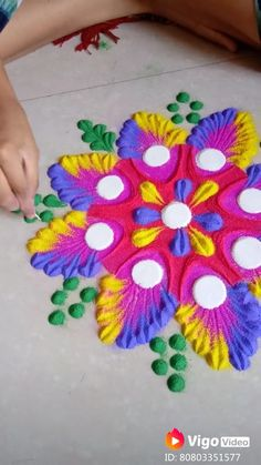 Easy Rangoli Designs Videos, Simple Rangoli Border Designs, Rangoli Designs Latest, Rangoli Designs Flower, Free Hand Rangoli Design, Rangoli Patterns, Colorful Rangoli Designs, Rangoli Ideas, Rangoli Designs Diwali