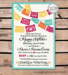 Fiesta Bridal Shower Invitation & Envelope by DelightInvite on Etsy https://www.etsy.com/listing/199624794/fiesta-bridal-shower-invitation-envelope