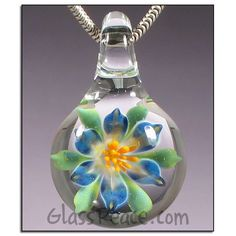 Blue Glass Flower Pendant - Lampwork Necklace Focal by Glass Peace $22.95