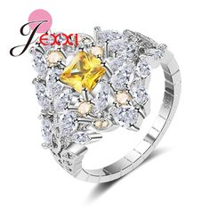 JEXXI Gorgeous Halo Rhombus Paved Yellow Crystal with Water Drop Cubic Zircon Rings 925 Sterling Silver Jewelry for Women   Enga #Affiliate
