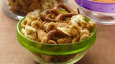 Banana Nut Cheerios� cereal, Cinnamon Chex� cereal and popcorn stir up into a flavorful munchie.