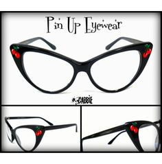Pin Eyewear (Cherries) Vintage Retro Cat Eye Eyeglasses Frame Custom Painted