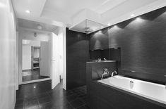 mid century modern bathrooms grey black - Google Search