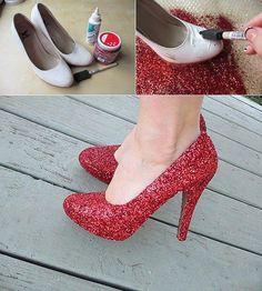 DIY Glitter Shoes. This makes me want to dress up as Dorothy for Halloween so I can have excuse to make glittery ruby red shoes :)