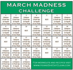 fitness challenges This March Madness Fitness Challenge is a great way to incorporate basic but effective exercises into your routine each day. The challenge doesn't take long but w Fitness Herausforderungen, Fitness Motivation, Health Fitness, Fitness Hacks, Fitness Plan, Fitness Tracker, Burpees, Squats, Routine