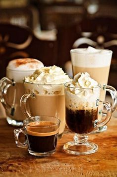 espresso, cappuccino, cappuccino with cream etc .... everything you need for a good morning start.