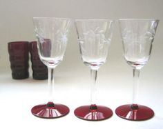 Ruby Valentine, Vintage Wine Glasses, Bar Glasses, Set of 3, Sherry Glasses, Etched, Fine Wine Glasses, Stemware, Sharethe LoveVintage