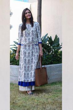 Off White Printed Long Straight Kurta with Ruffled Hem Salwar Designs, Blouse Designs, Long Kurta Designs, Indian Dresses, Indian Outfits, Ootd, Indian Designer Wear, Mode Style, Ruffle Dress