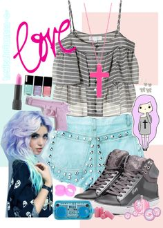 """Pastel Goth†- blue & pink"" by heyitzbriannaa ❤ liked on Polyvore"