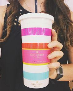 Kate Spade Candy Stripe Tumbler PC: swooziesgreenville https://instagram.com/swooziesgreenville