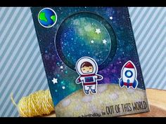 Galaxy Background Slider Card | Copic Coloring | Lawn Fawn - YouTube. Start at the 7:00 minute mark for the galaxy background using distress inks. Uses COPIC white for the stars. Must get some.