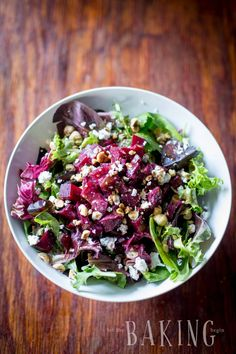Beet and Feta Salad - refreshing but hearty salad of roasted beets, baby greens, creamy crumbled feta, roasted hazelnuts and a nice vinaigrette Pate Recipes, Bean Recipes, Vegetarian Recipes, Vegetable Recipes, Beet And Goat Cheese, Goat Cheese Salad, Farro Salad, Feta Salad, Cobb Salad