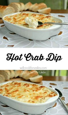 Its made with crab Absolutely incredible Hot Crab Dip! Its made with crab meat cream cheese lots of other cheese and baked to perfection! from willcookforsmiles Yummy Appetizers, Appetizers For Party, Appetizer Recipes, Crab Appetizer, Seafood Appetizers, Think Food, Love Food, Hot Crab Dip, Easy Crab Dip