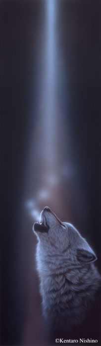 """""""Ray of Light""""  90.0 × 35.0cm, Acrylic on canvas 2011, Private Collection  Gallery Wolves - Art of Kentaro Nishino"""