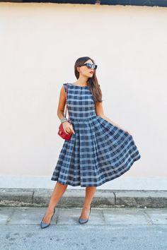 Read here about Mariagrazia's Look: http://www.venusathermirror.it/un-abito-a-quadretti-e-la-chanel-2-55-mini-mini/ #venusathermirror #mariagraziaceraso | SHOP ONLINE ON: www.alteregodresstore.com | MAIN SITE: www.alteregodress.com . . . #fashionblogger #alteregodress #fashion #outfits