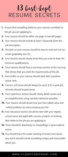 The 13 Best-Kept Resume Secrets Tossed, Life hacks and Adulting - hr resume