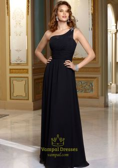 Picture of Black One Shoulder Bridesmaid Dress, Long Chiffon Evening Dress