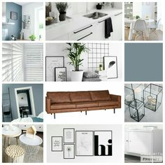 Living room collage// denim drift walls, white furniture, scandinavian living, cognac leather couch.