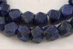Vintage lapis lazuli hexagon facetted beads