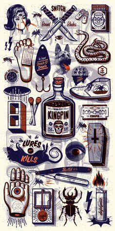poster design, illustration, music, gig poster, screenprint, vintage, texture, hot tub, diorama