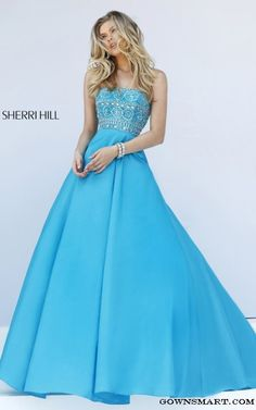 A Line Prom Dress Sherri Hill 32362 Turquoise Strapless