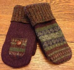 Old Sweater recycled Adult Size Mitten  PATTERN Chickadee Primitives  #NaivePrimitive