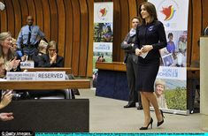 The princess receives a round of applause after giving her speech at the UN conference...
