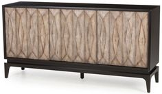 Finn Credenza This beautifully facetted credenza is bold and striking from all angles. The deeply faceted Beech veneered doors are finished in a weathered driftwood which contrasts nicely with the Black Lacquer cabinet. Wood Furniture, Furniture Design, Martin Furniture, Lounge Furniture, Furniture Storage, Furniture Online, Furniture Ideas, Reclaimed Wood Door, Veneer Door