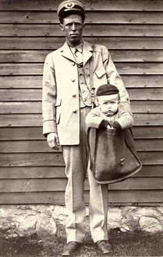 "Sending a child through the post, 1900  ""After parcel post service was introduced, at least two children were sent by the service. With stamps attached to their clothing, the children rode with railway and city carriers to their destination. The Postmaster General quickly issued a regulation forbidding the sending of children in the mail after hearing of those examples."""