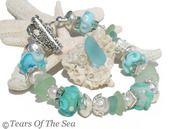 A Soft Sea Melody ~ Pastel Sea Glass Lampwork Bracelet ~ SS