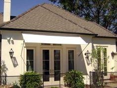 White Venetian Awning With Spear Frames By LA Custom Awnings Shutters