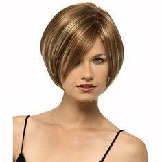 Bob Haircut with Golden brown hair color and highlights