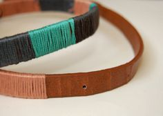 diy colorblocked thread wrapped belt