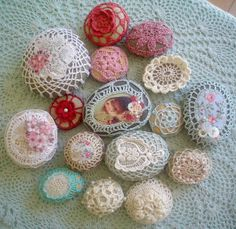 ~Teacup and Roses~ crochet covered rocks