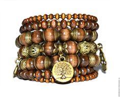 """Купить Браслет """"АЙРИШ"""" - коричневый, стильные штучки, авторские украшения, браслет из дерева, бохо"""