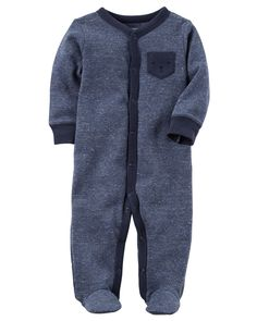 Baby Boy Heathered Thermal Snap-Up Sleep & Play | Carters.com
