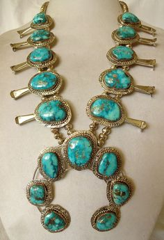 Vintage NAVAJO Sterling Silver & MORENCI TURQUOISE Squash Blossom NECKLACE #AUTHENTICVINTAGENATIVEAMERICANJEWELRY