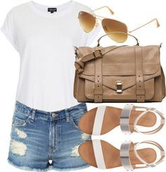 Topshop over sized shirt / Zara high-waisted jean shorts / Zara  shoes / Proenza Schouler  / Ray-Ban ray ban glasses