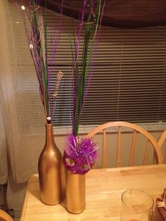 Wine bottle Mardi Gras decorations!