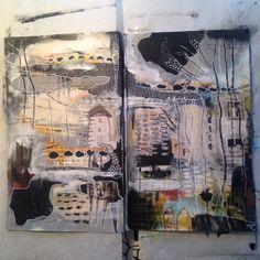 Tina Jensen Art Studio - Textile and Collage work. Alice Tea Party, Art Journal Pages, Art Journaling, Artist Sketchbook, Art Journal Inspiration, Journal Ideas, Sewing Art, Handmade Books, Art Studios