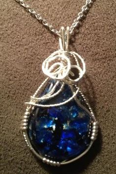 Blue Fire Opal Teardrop Cabochon Hand Wire Wrapped Pendant