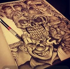 Chicano Arte Skull Hand Tattoo, Skull Tattoos, Body Art Tattoos, Payasa Tattoo, Clown Tattoo, Arte Cholo, Cholo Art, Chicano Art Tattoos, Chicano Drawings