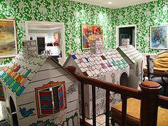 Cardboard houses (and cool wallpaper too!)