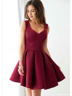 66208067e091 Cute A Line V Neck Elastic Satin Burgundy Short Homecoming Dresses with  Pockets, Short Prom Dresses Under 100 HD0808002
