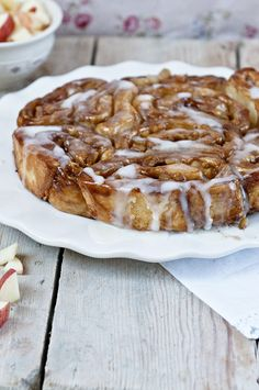 Plate-of-Apple-Cider-Glazed-Apple-Pie-Rolls