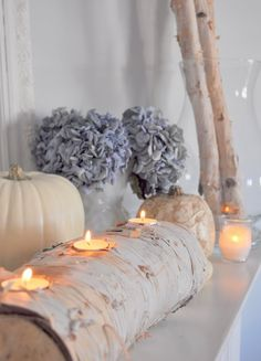 Use Steve's hole saw to make tea light birch log!...great color scheme for a modern fall wedding