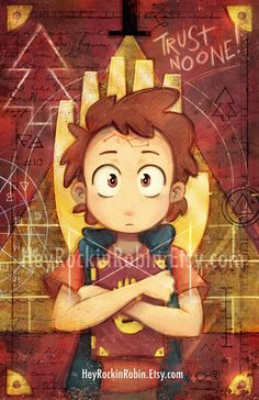 This Gravity Falls fan poster features Dipper holding the third journal with the mysterious Bill Cipher in the background. TRUST NO ONE!!