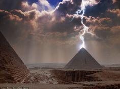 Pyramid struck by lightning