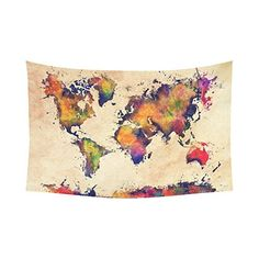 Custom Home Decor Wall Art World Map Cotton Linen Wall Tapestry 90 X 60 ** You can get additional details at the image link.-It is an affiliate link to Amazon. #Tapestries