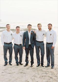 Clean, crisp groomsmen's outfits.